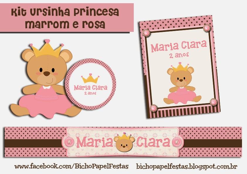 kit ursinha com coroa marrom e rosa