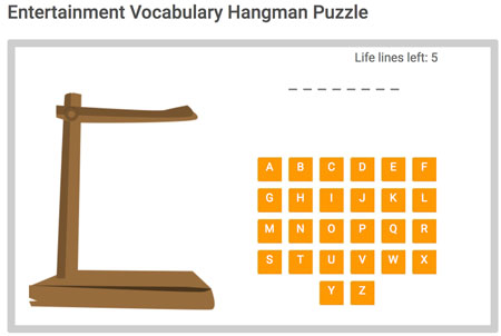 Entertainment Vocabulary Hangman game