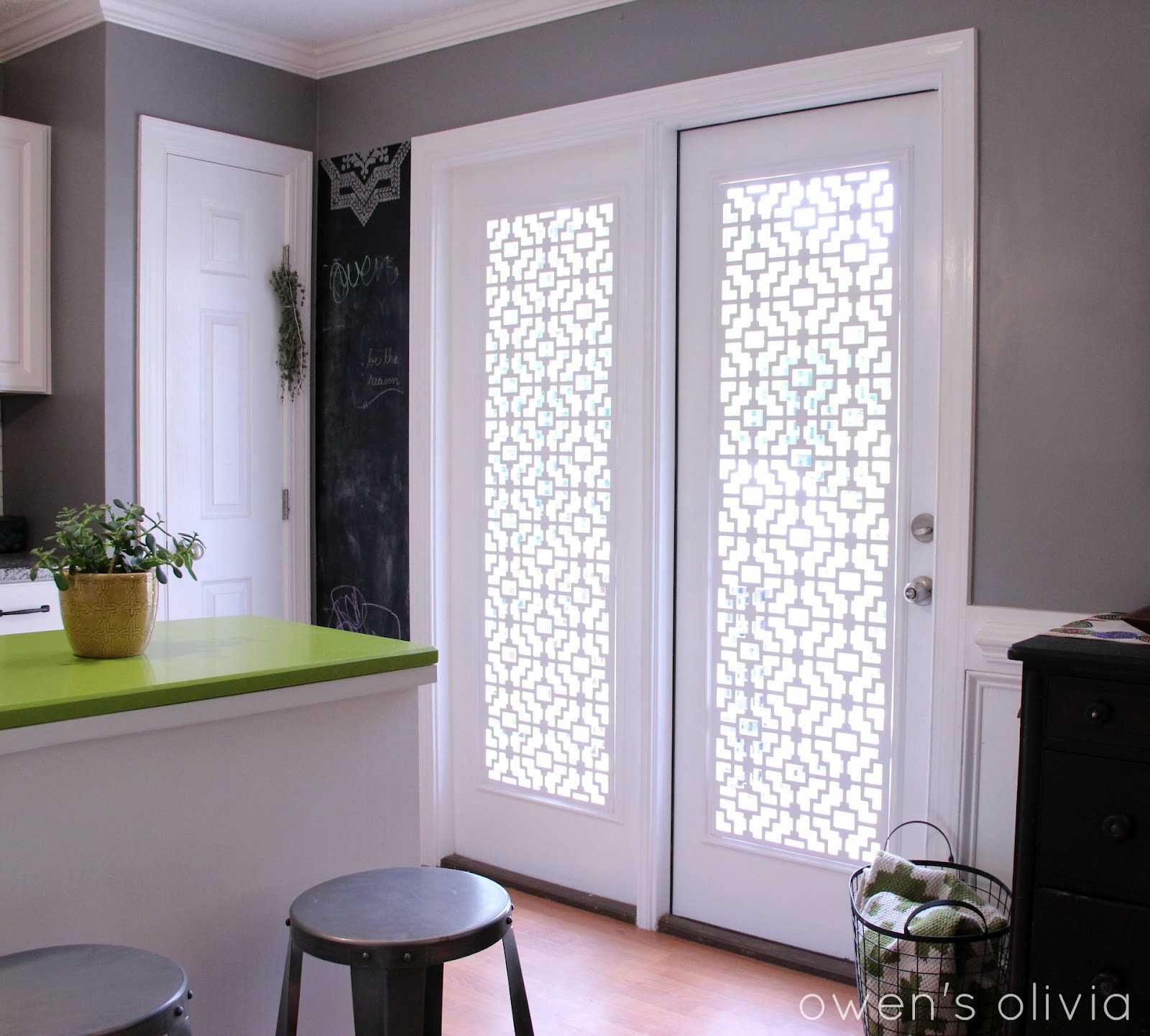 Owen S Olivia Custom Window Treatments Using Pvc. Cell Shades On French  Doors Window Treatment ...