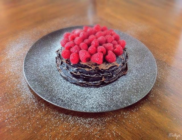 Chocolate Raspberry Mille Crepe Cake