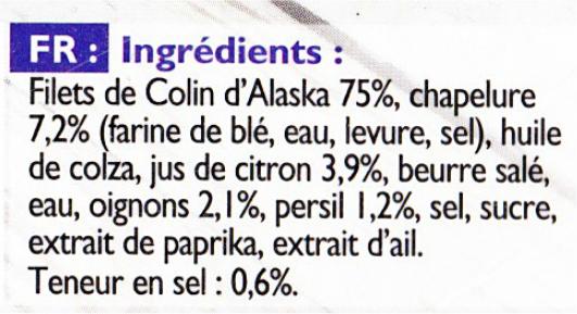 liste des ingrédients d'un plat préparé de poisson