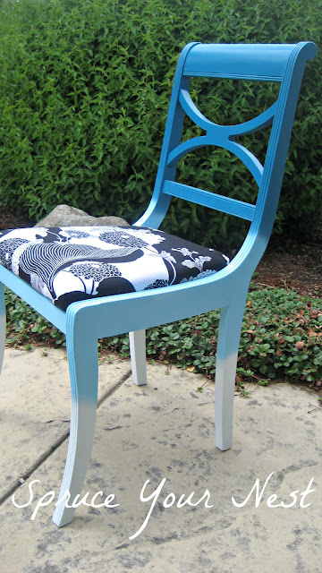fabric seat cover, ombre chair, ombre furniture, painting furniture