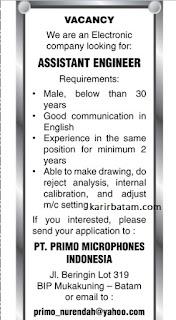 Lowongan Kerja PT. Primo Microphones Indonesia