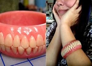 """E você linda, usaria uma pulseira """"dentadura'?"""