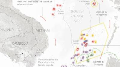 Los puntos rojos muestran las islas o arrecifes controlados por Pekín en el mar de la China Meridional.