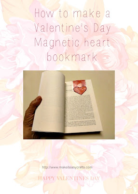 Valentine's Day magnetic heart bookmark