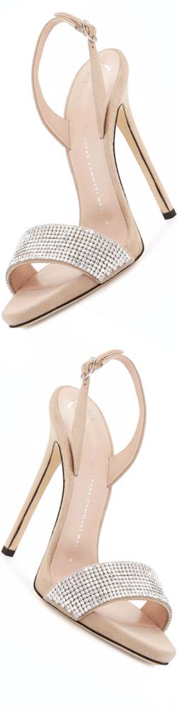 Giuseppe Zanotti Coline Crystal 110mm Sandal, Pallido
