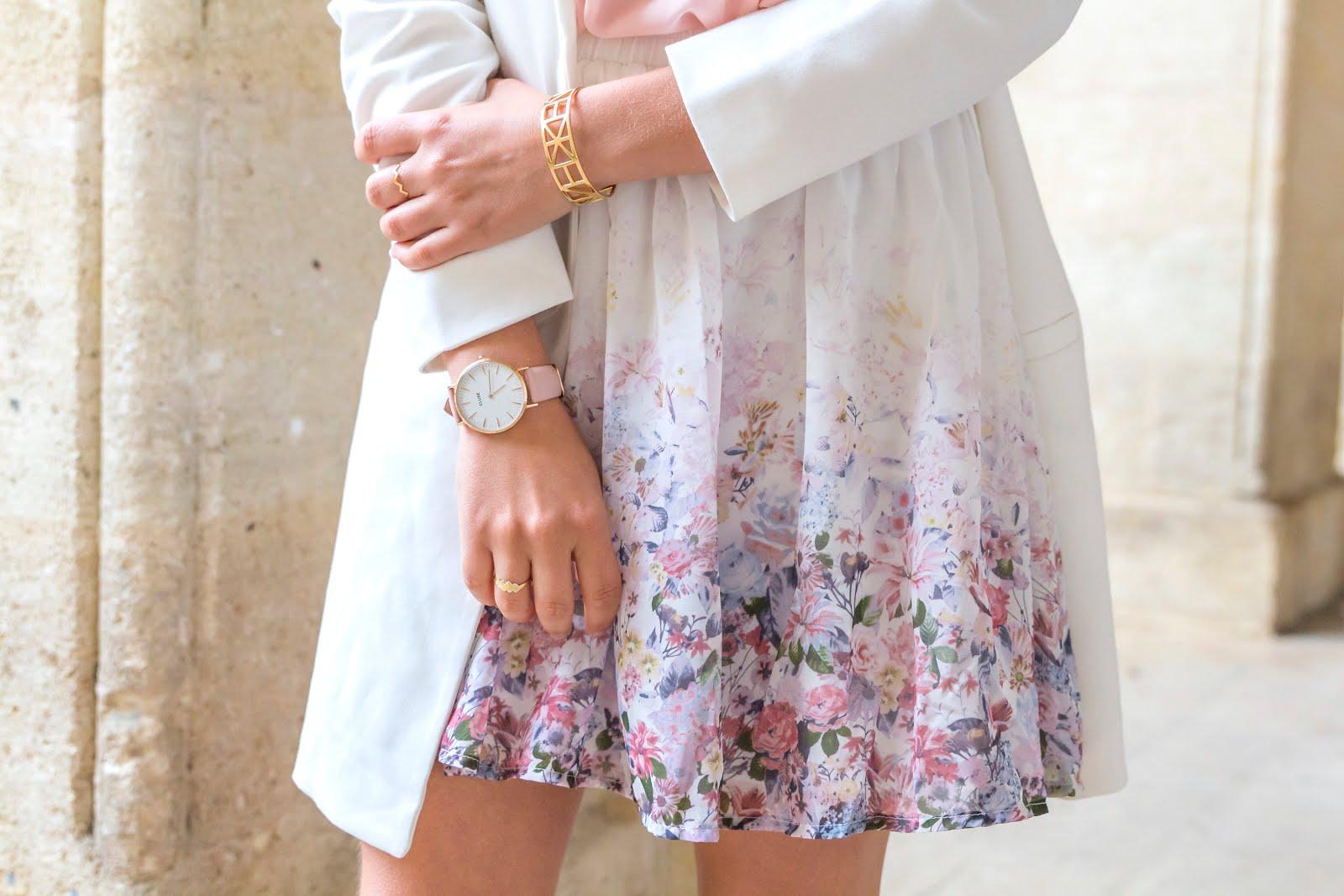 jupe fleurs rose