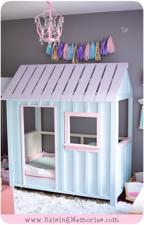 pastel toddler house bed