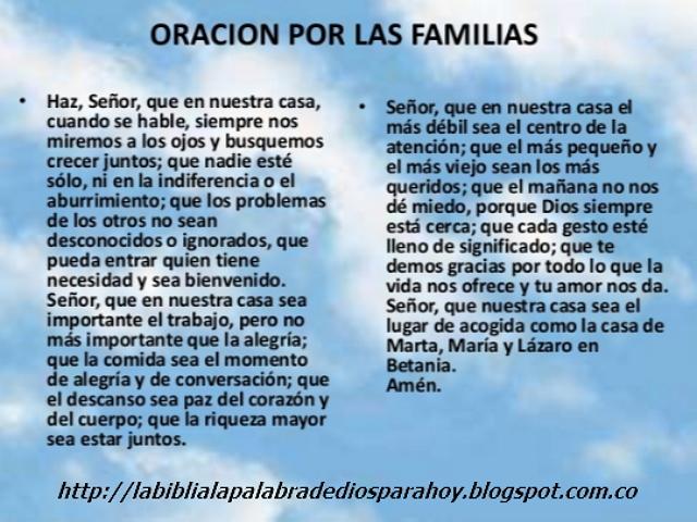 Oración a dios por la familia