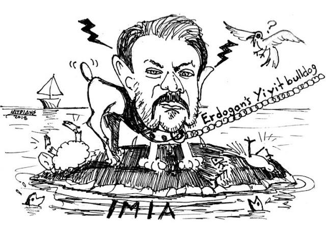 Γκιγκίτ μπουλντόγκ του Ερντογάν είναι το θέμα της γελοιογραφίας του IaTriDis  με αφορμή τις δηλώσεις του συμβούλου του Ερντογάν, Γκιγκίτ Μπουλούτ, για τα Ίμια.