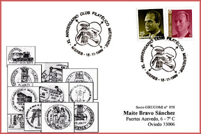 Tarjeta del XL aniversario del Grupo Filatélico Mierense