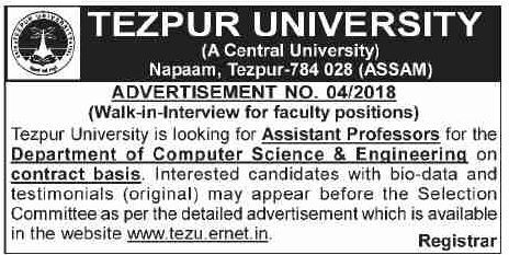 Tezpur University Walk-in-Interview 2018 for Assistant
