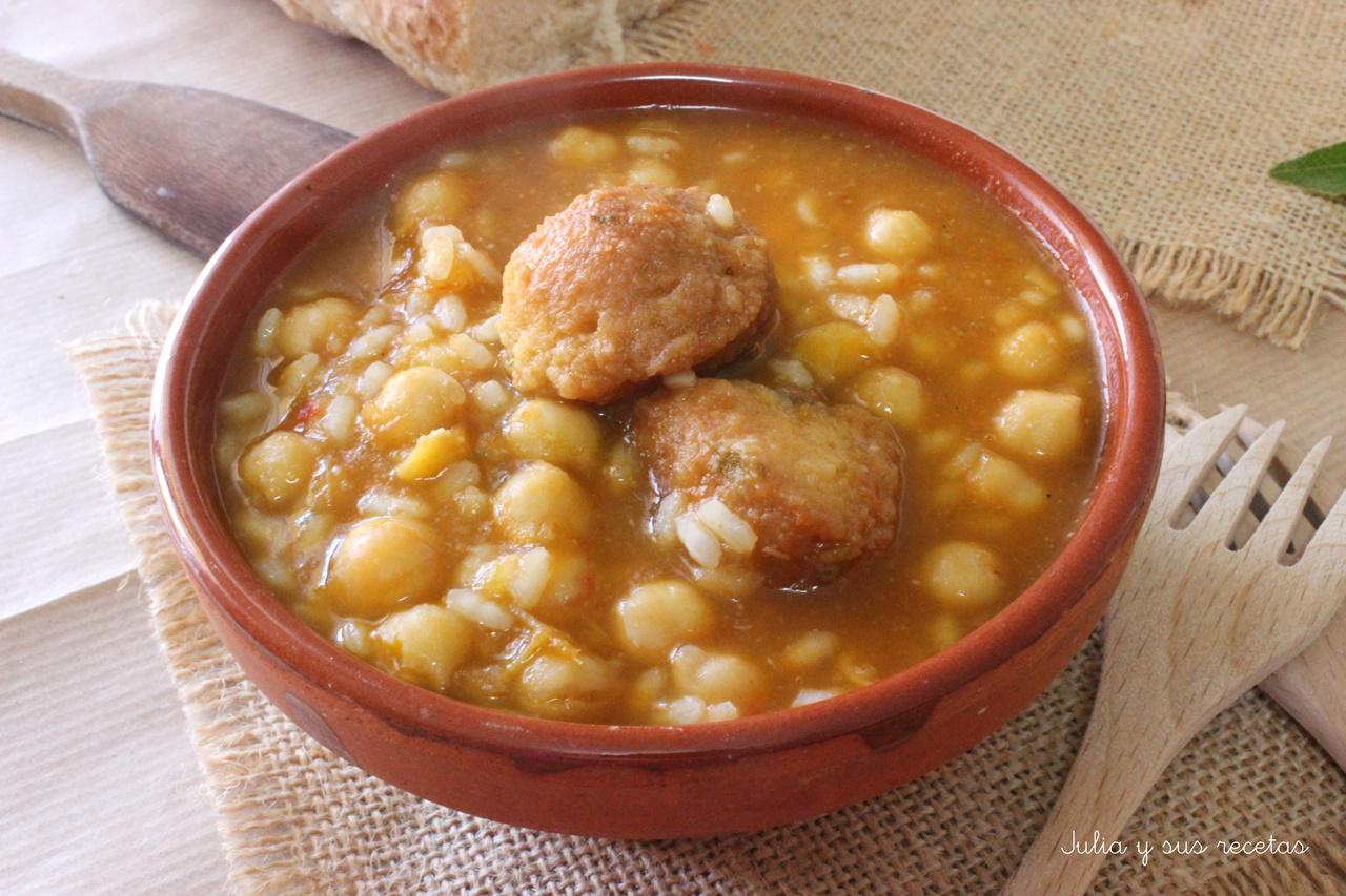 Julia y sus recetas potaje de garbanzos con arroz y - Potaje de garbanzos y judias ...