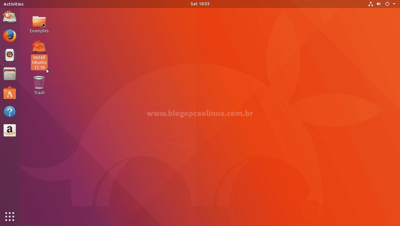 """Dê dois cliques em """"Install Ubuntu 17.10"""""""