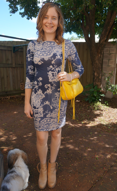 bohoo.com bodycon blue paisley print dress acne pistol boots bright yellow bag