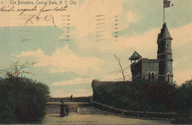 Postcard of The Belvedere Castle in Central Park in 1905. Knocker Up. marchmatron.com