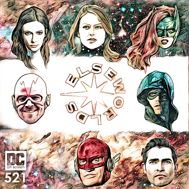 Elseworlds art by David C. Roberson featuring Arrow, The Flash, 90s Flash, Superman, Batwoman, Supergirl, and Lois Lane