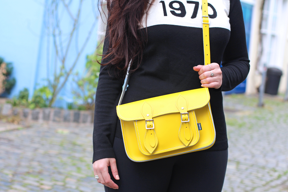 Yellow Zatchels bag on Emma Louise Layla - London style blogger