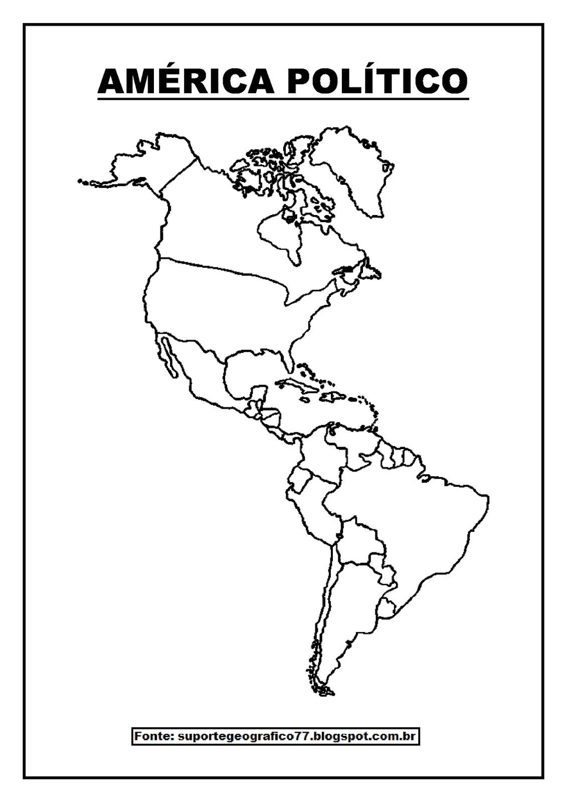 Mapa Mudo De America.Mapa Mudo America Suporte Geografico