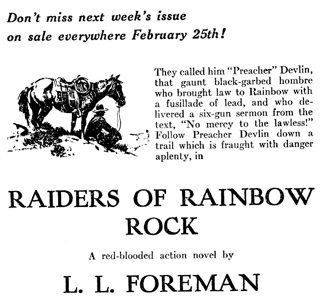 Ad for L.L. Foreman story in Western Story Magazine, February 26 1938