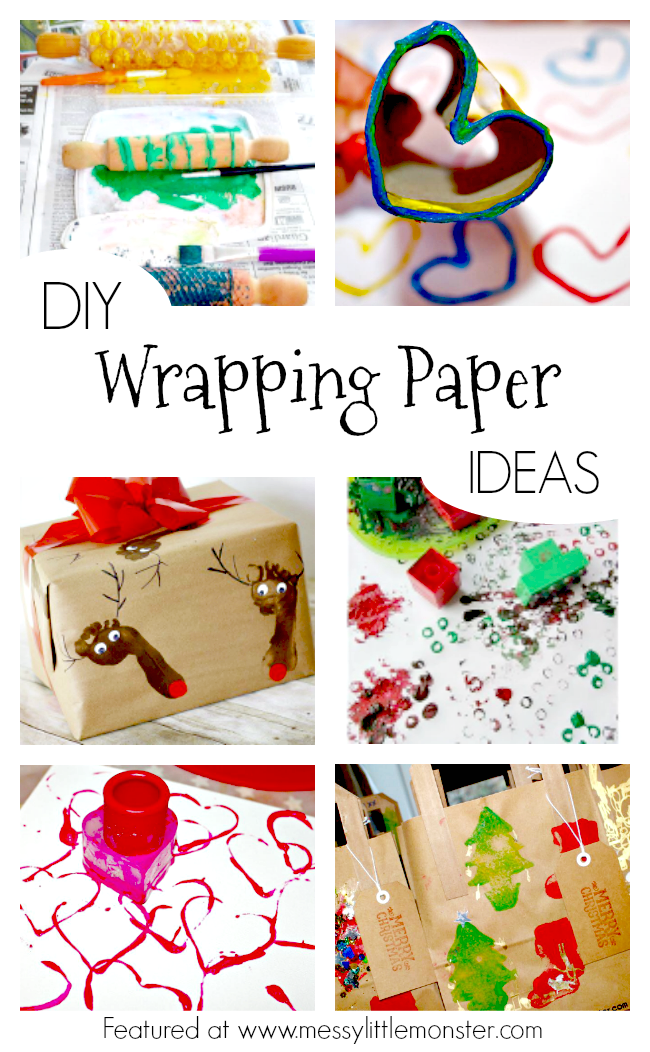 Easy DIY wrapping paper ideas. Homemade gift wrap or gift bag ideas that the kids can make.  Simple enough for toddlers and preschoolers.  Fun painting and printing ideas.