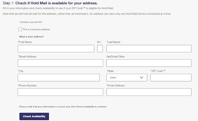 USPS MAIL HOLD FORM