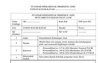 Strandar Operasional Prosedur PAUD