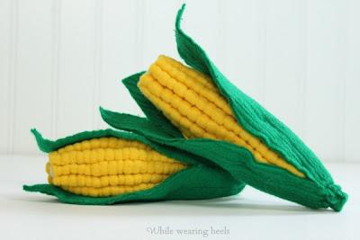 espiga de Milho Verde em feltro