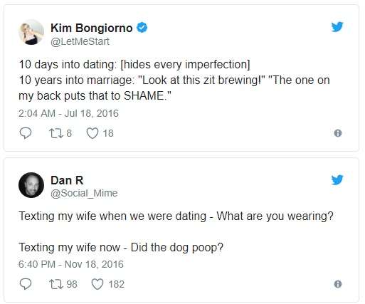 the difference between dating and marriage as told in tweets