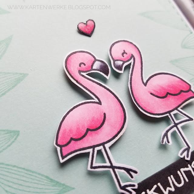 Kartenwerke: Hochzeitskarte mit Stempeln von Lawn Fawn - Flamingo Together - koloriert mit Copics