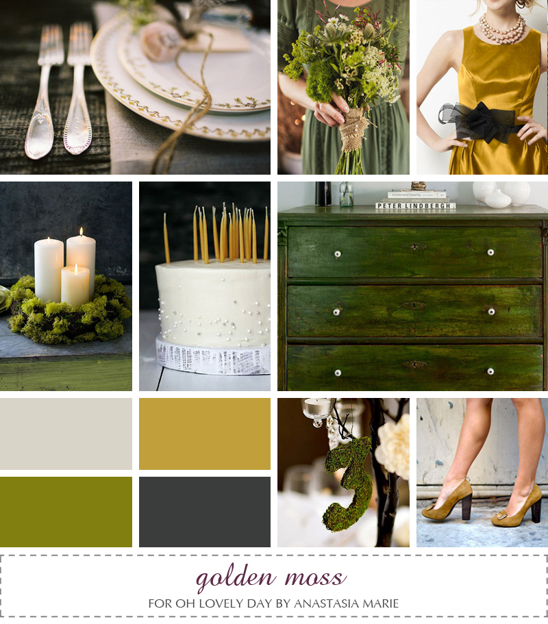 Guest Post} Golden Moss Inspiration Board from Anastasia