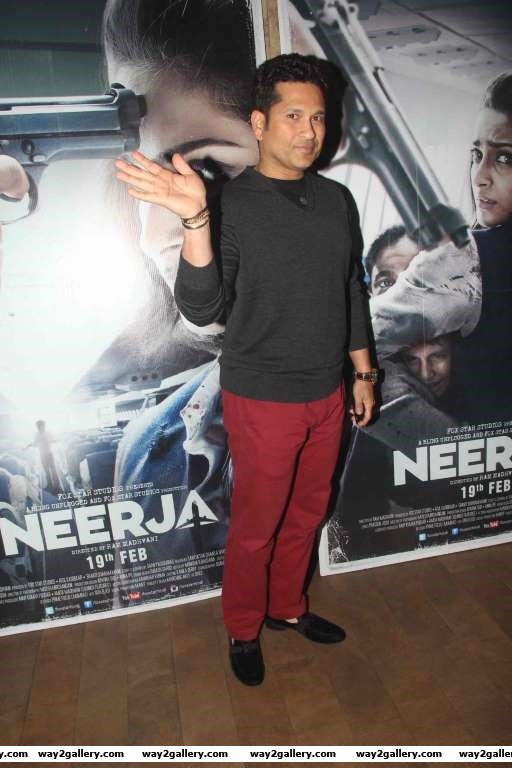Sachin Tendulkar was among the cricketers at the special screening of Neerja