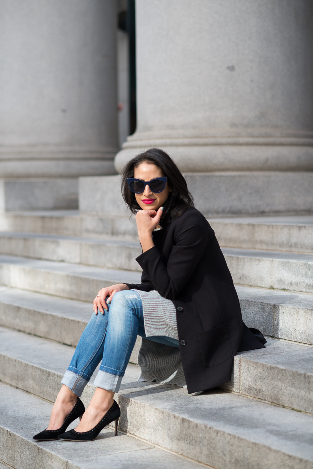 Gap sweater, spring style, new haircut, skinny denim, Coach Smith heels, Coach heels, Lancome matte lipstick, black structured blazer