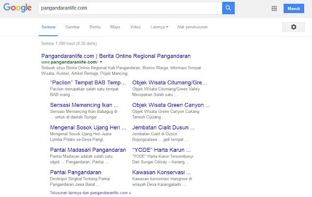 sitelink kedua dari google