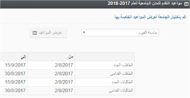 مواعيد التقديم بالمدن الجامعية بجامعة الفيوم 2017/2018 موقع الزهراء