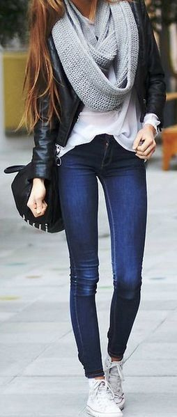 street style perfection : knit scarf + leather jacket + bag + skinny jeans + converse