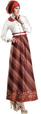Contoh desain baju batik muslim remaja sederhana
