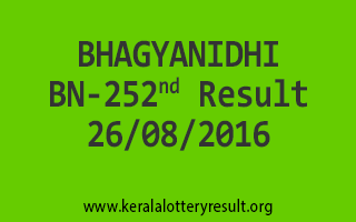 26-08-2016 THURSDAY BHAGYANIDHI BN-252 KERALA LOTTERY RESULTS