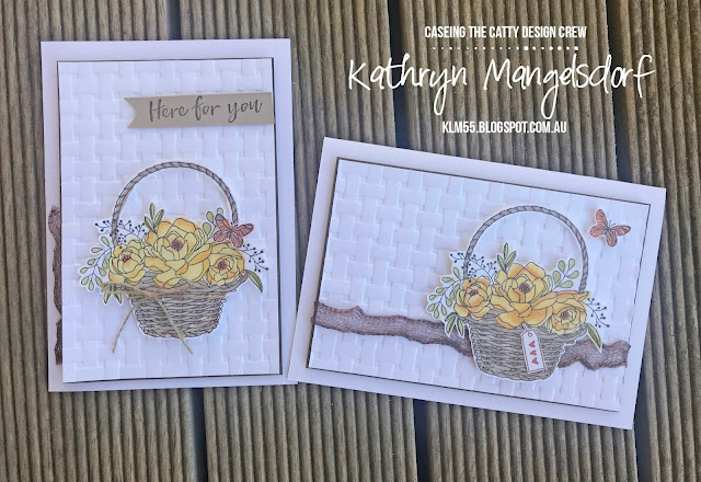 Stampin' Up! Blossoming Basket, Basket Weave Dynamic Textured Impressions Embossing Folder, Sale-A-Bration created by Kathryn Mangelsdorf