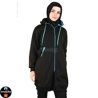 HJ15 Hijacket BASIC Black x Turkish ORIGINAL PREMIUM FLEECE JAKET HIJAB JAKET MUSLIMAH