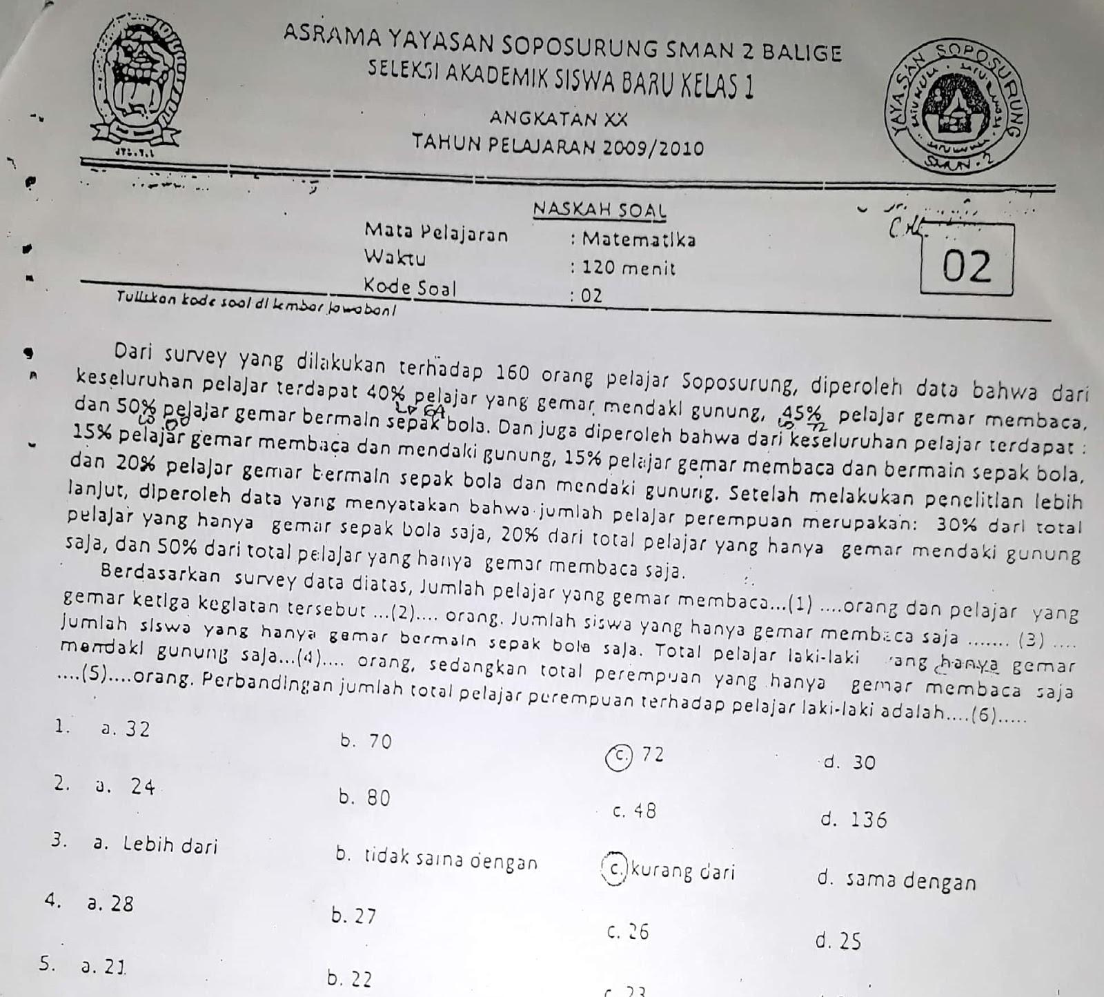 Matematika SMP, Seleksi Akademik Masuk Asrama YASOP SMAN 2 Balige 2009
