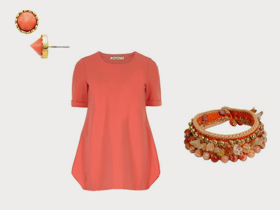 Coral earrings tee shirt bracelet Common Colors