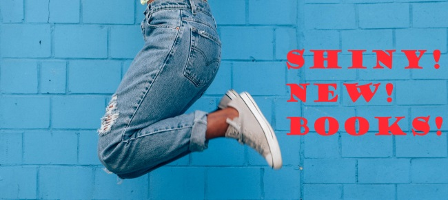 Banner showing a back girl jumping against a teal blue wall. She wears blue jeans and white shoes, and the photo only shows her from the waist down. Beside her feet, a red caption reads,