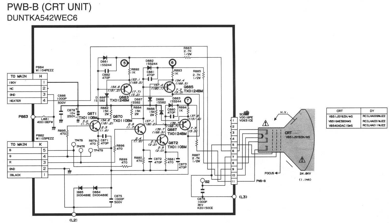 sharp crt tv circuit diagram