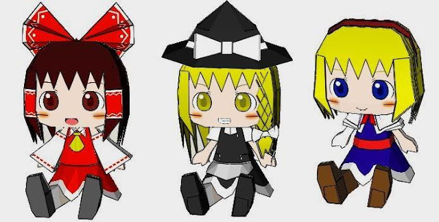 here are six cute paper dolls in chibi style from the japanese anime and mang series touhou project you have reimu hakurei marisa kirisame