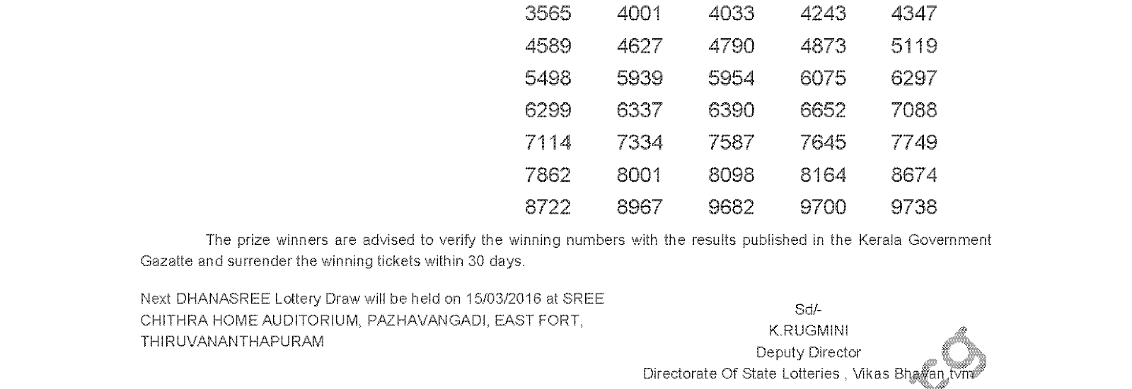 DHANASREE Lottery DS 227 Result 08-03-2016