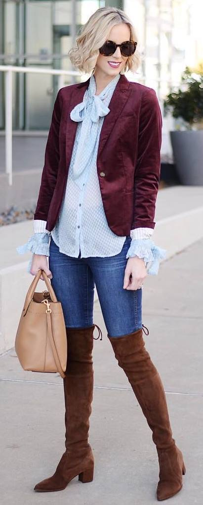what to wear a pair of over knee boots : velvet blazer + shirt + skinnies + nude bag