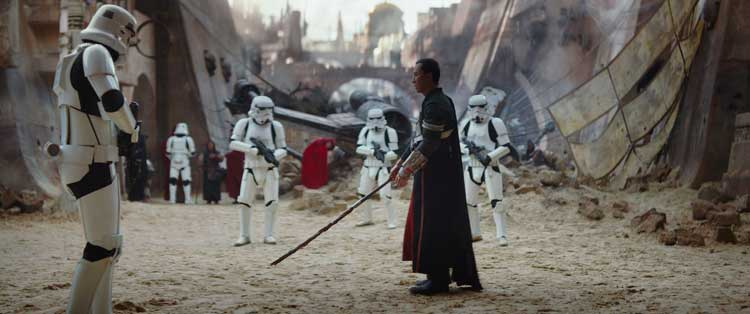 Donnie Yen prepares to battle a group of stormtroopers in Rogue One: A Star Wars Story.