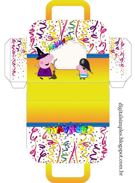 Carnaval con Peppa Pig: Caja con forma de Maleta para Imprimir Gratis.